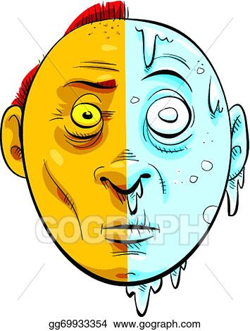 Vector Art Hot And Cold Face Clipart Drawing Gg69933354 Gograph