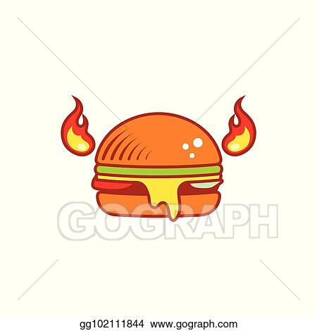 Vector Illustration Hot Flat Burger With Horns And Fire