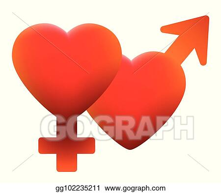 Eps Illustration Hot Love Symbol Two Hearts Male Female Vector