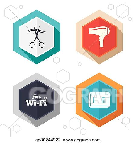 Vector Illustration Hotel Services Icon Wi Fi Hairdryer And Safe