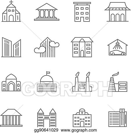 Vector Illustration - House and building vector line icons