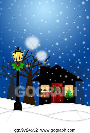 Christmas Scene Drawing.Stock Illustration House And Lamp Post In Winter Christmas