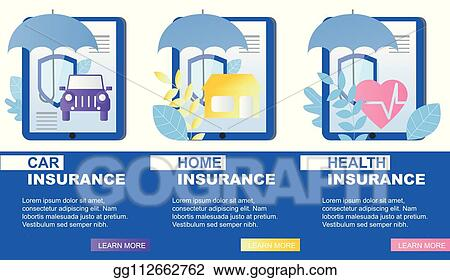 Eps Illustration House Car Health Insurance Service Banner Vector Vector Clipart Gg112662762 Gograph