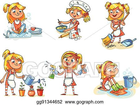 vector clipart house cleaning girl is busy at home funny cartoon rh gograph com house cleaning clipart house cleaning services clipart