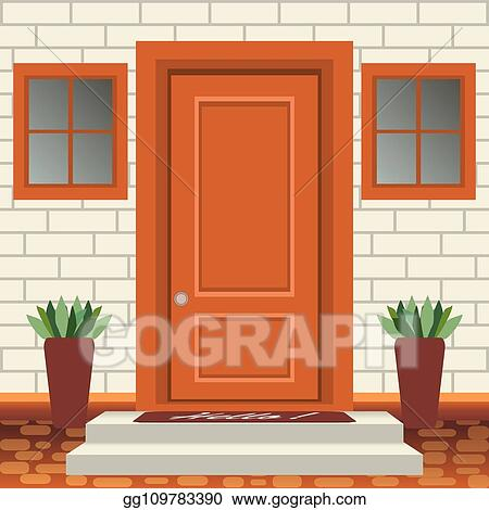 Vector Art House Door Front With Doorstep And Steps Lamp Flowers