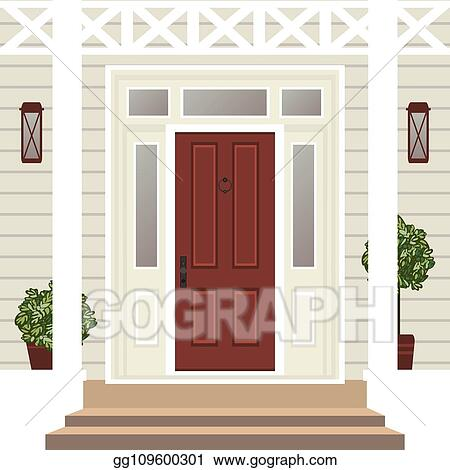 Vector Illustration House Door Front With Doorstep And Steps