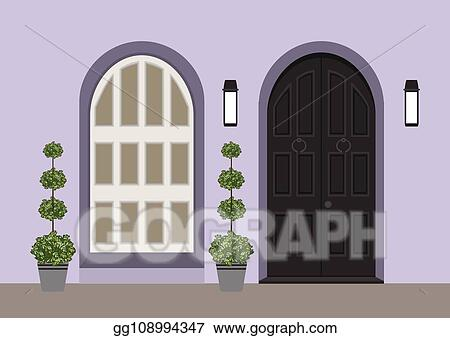 Vector Illustration House Door Front With Doorstep And Window