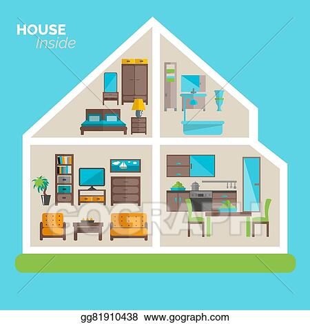 Vector Art House Inside Furnishing Ideas Icon Poster