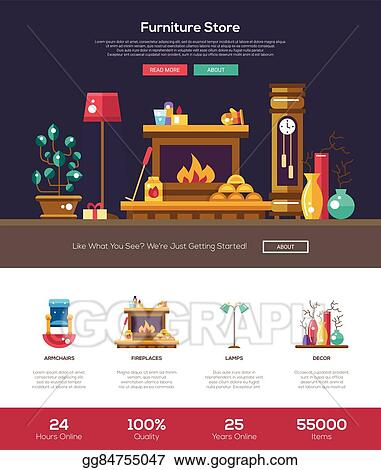 Vector Art House Interior Store Website Header Banner With Webdesign Elements Clipart Drawing Gg84755047 Gograph