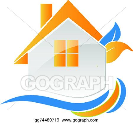 vector stock house leafs and waves logo clipart illustration rh gograph com wave logo ideas waves logistics corporation