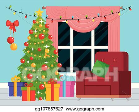 House With Christmas Lights Clipart.Eps Illustration House Livingroom With Christmas