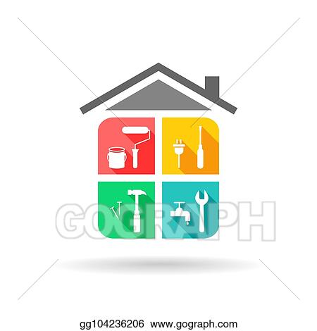 Vector Stock House Maintenance With Icons Clipart Illustration