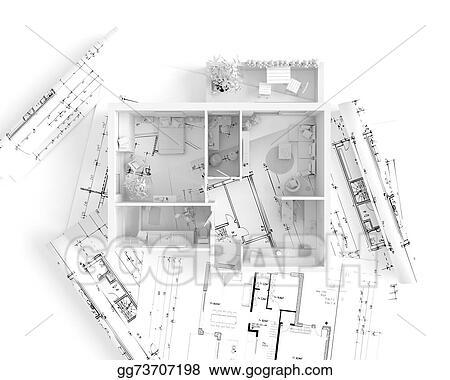 Stock Illustration House Plan Top View Interior Design
