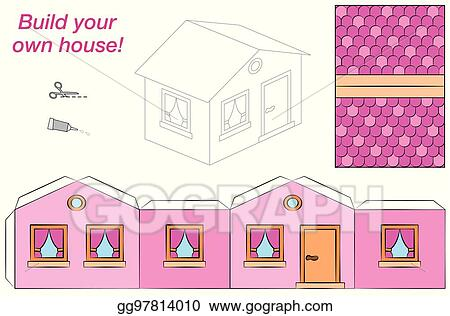 Vector Stock House Template Paper Model Pink Clipart