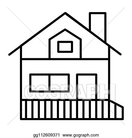 Vector Stock House With A Veranda Thin Line Icon Gable Roof House With Porch Vector Illustration Isolated On White Cottage Outline Style Design Designed For Web And App Eps 10 Clipart