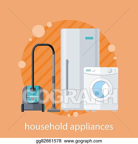 Vector Stock Household Appliances Flat Design Stock Clip