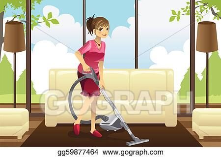 Vector Illustration Housewife Vacuuming Carpet Eps Clipart