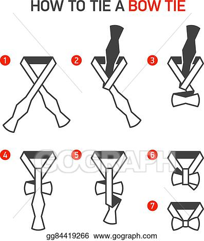Vector Clipart How To Tie A Bow Tie Vector Illustration