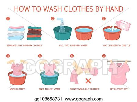 Vector Art - How to wash clothes step-by-step guide for ...