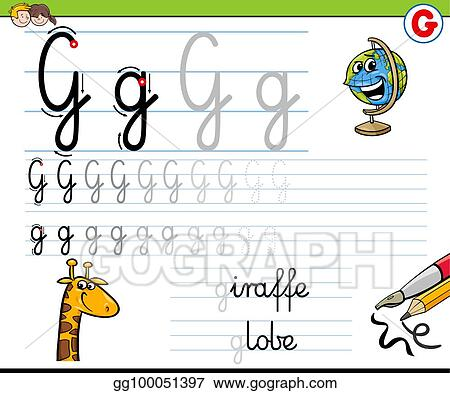 Vector Clipart How To Write Letter G Worksheet For Kids Vector Illustration Gg100051397 Gograph - 19+ Writing Letter G Worksheets For Kindergarten Images