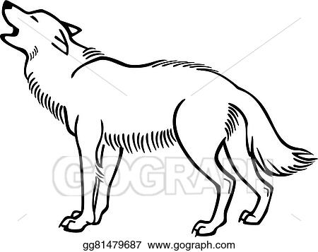 Vector Stock Howling Wolf Clipart Illustration Gg81479687 Gograph
