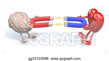 ef91089d Stock Illustration - Human brain and heart with arms, legs and ...