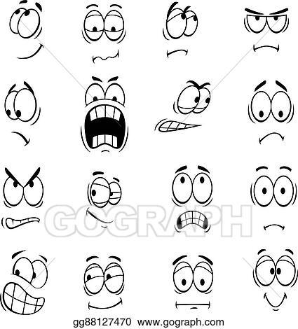 Eps Illustration Human Cartoon Eyes Emoticons Symbols Vector