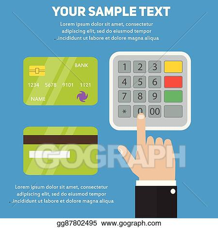 Vector Art - Human hand entering pin code in atm, payment