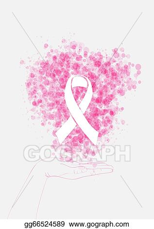 Vector Clipart Human Hand Holds Ribbon Symbol With Bubbles Breast