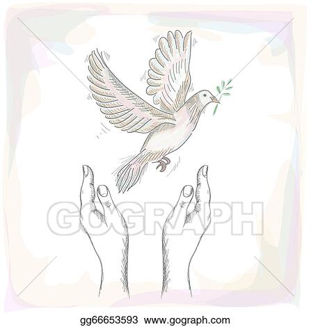 Vector Art  Human hands and peace dove illustration eps10 file
