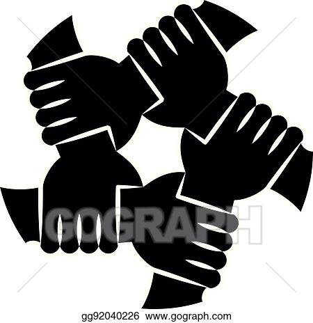 Eps Illustration Human Hands Silhouettes Holding Eachother For Solidarity Vector Clipart Gg92040226 Gograph