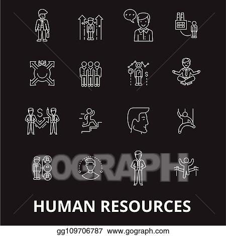 Vector Art Human Resources Editable Line Icons Vector Set On Black Background Human Resources White Outline Illustrations Signs Symbols Eps Clipart Gg109706787 Gograph Free icons of human in various ui design styles for web, mobile, and graphic design projects. gograph