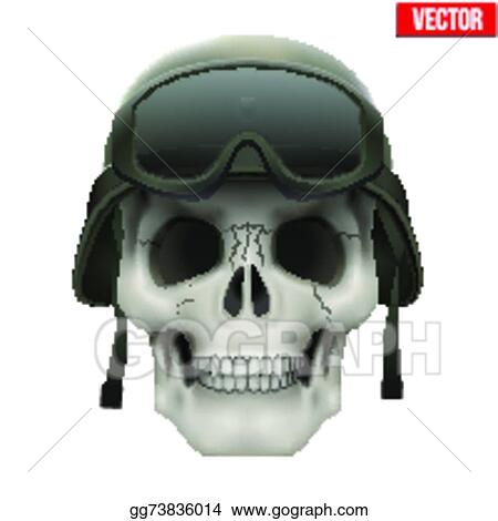 39f81d13ea7 EPS Vector - Human skull with military helmet green color and goggles.  vector illustration on isolated white background. Stock Clipart  Illustration ...