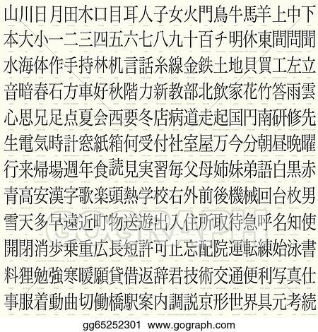 Vector Illustration Hundreds Of Kanji With Translations Eps
