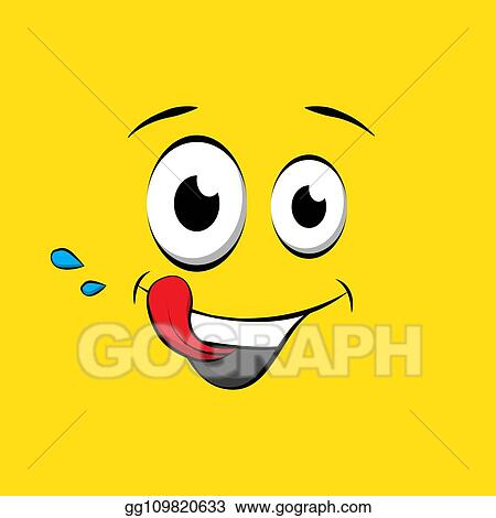 Vector Stock Hungry Emoticon Or Emoji Face On Yellow Background