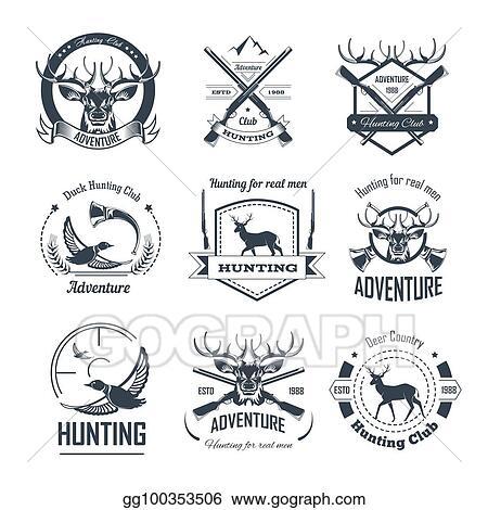 Vector Art - Hunting club icons hunt adventure hunter gun rifle open