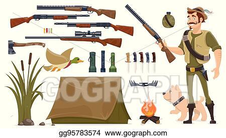 Clip Art Vector - Hunting elements set  Stock EPS gg95783574