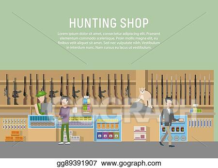 EPS Vector Hunting Shop Interior With Rifle And Gun Weapon
