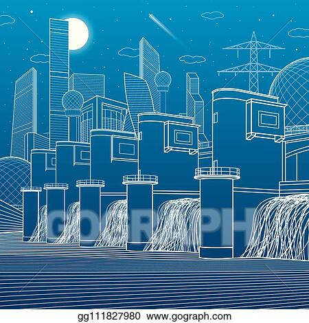 Vector Art - Hydro power plant  river dam  energy station  city