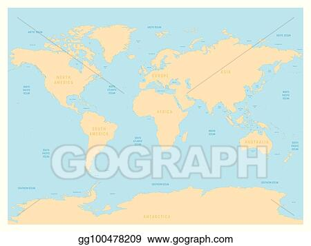 Eps Illustration Hydrological Map Of World With Labels Of Oceans Seas Gulfs Bays And Straits Vector Map With Yellow Lands And Blue Water Vector Clipart Gg100478209 Gograph
