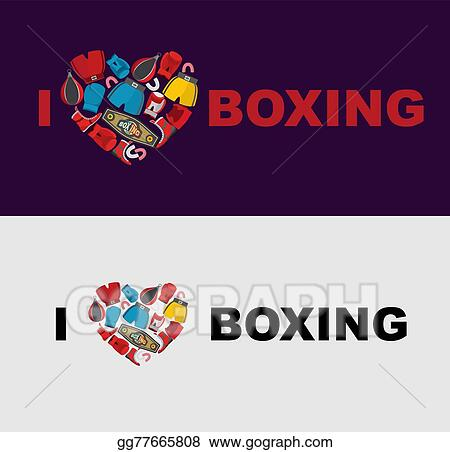 eps vector i love boxing symbol of the heart of boxing gear
