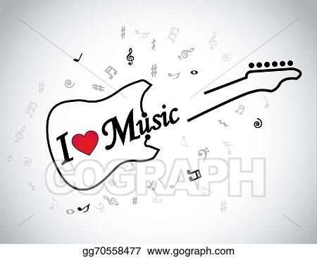 Clipart I Love Music Electric Guitar Musical Notes Concept Red