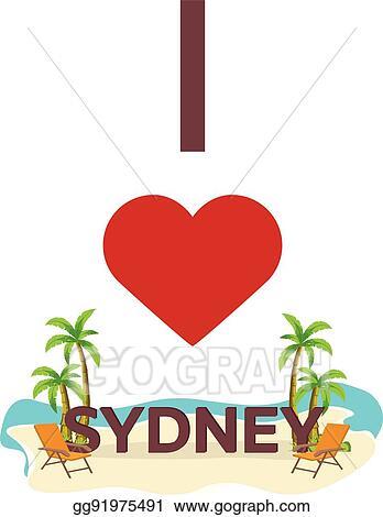Pleasing Vector Illustration I Love Sydney Australia Travel Palm Ibusinesslaw Wood Chair Design Ideas Ibusinesslaworg