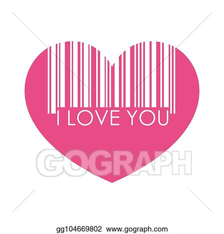 Barcode love. Eps vector i you