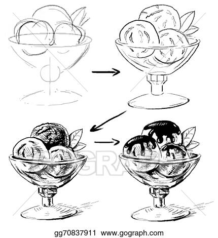vector illustration ice cream in glass bowl sketching working