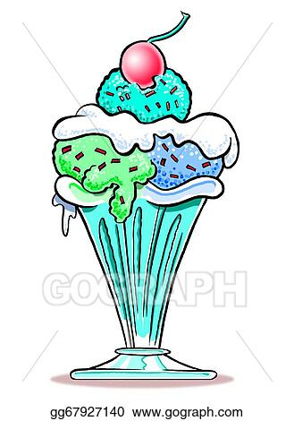 Drawing Ice Cream Sundae Wbg Clipart Drawing Gg67927140 Gograph