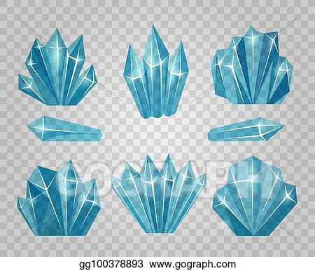 Vector Illustration Ice Crystals Isolated On Transparent