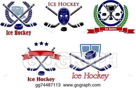 Eps Vector Ice Hockey Heraldic Emblems And Symbols Stock Clipart