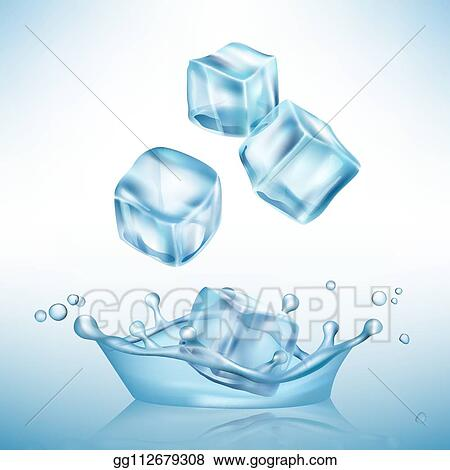 vector art ice splashes cube freeze water puddles and crystal clear ice cube vector realistic background eps clipart gg112679308 gograph https www gograph com clipart license summary gg112679308