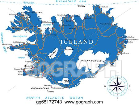 Vector Clipart - Iceland map. Vector Illustration gg65172743 ...